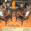 Salong trúc bàn tròn gỗ trắc